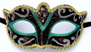 Green Gold Silver & Bronze Mask - Sparkling Mask | Masks and Tiaras